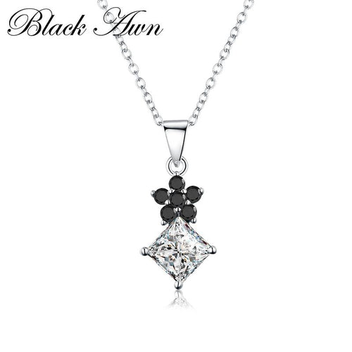Silver necklace 925 Sterling silver 7.5 gram Square necklaces pendants for women fine jewelry silver jewelry 925 P168