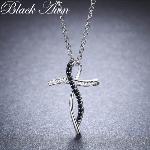 Fine genuine 100% 925 Sterling silver necklace women jewelry black and white stone necklaces pendants P114