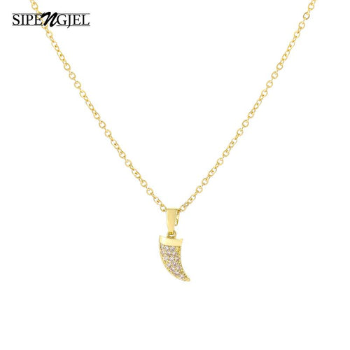 Fashion small moon ivory necklace Cz Crystal Vintage Korean necklace for women fashion jewelry 2020