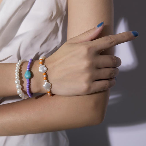 SRCOI bohemian white irregular shape Imitation pearl combination Bracelet colorful rice beads stone charm Bracelet for women