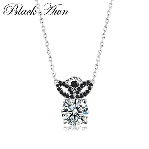 Silver necklace 3.3 Gram 925 Sterling silver fashionable black and white stone necklaces pendants for women fine jewelry P170
