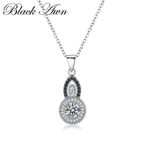 Classic genuine 100% 925 Sterling silver black and white necklace women trendy jewelry necklaces & pendants jewelry P058
