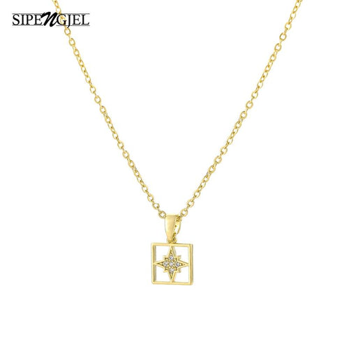 Fashion hollow square star necklace Top quality crystal gold chain Vintage necklace for Korean women jewelry 2020