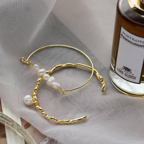 SRCOI irregular freshwater beads Bracelets semi-circular bracelet open metal hand wire ropes Bracelets women wedding fashionable Mujer