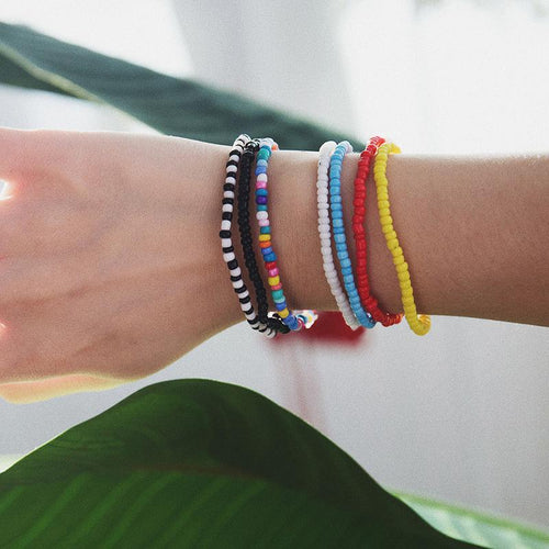 SRCOI European fashion accessories rice bead Bracelet new handmade multicolor elastic Bracelet women Girl bohemian jewelry