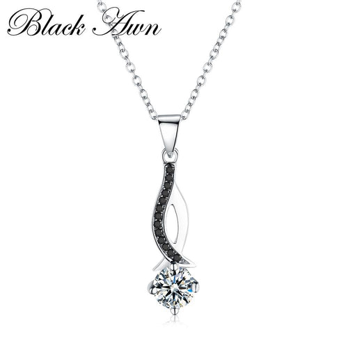 Black Awn classic genuine 100% 925 Sterling silver necklaces & pendants trendy jewelry Black and white stone necklace women P073