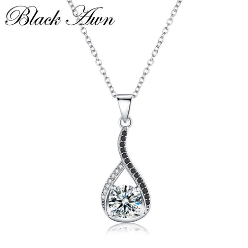Vintage silver necklace genuine 925 Sterling silver necklaces & pendants jewelry Classic water drop necklace women P084