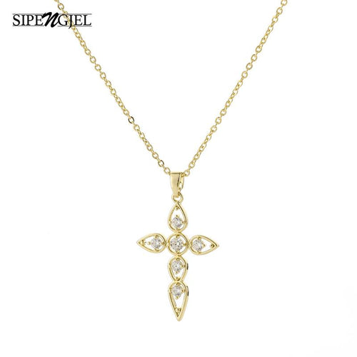 Fashion New Style Hollow Cross necklace high quality crystal gold chain cute Vintage necklace for women girls gift jewelry 2020