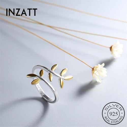 Inzatt natural plant natural branch high quality RING 925 silver pounds or colored leaves for women's festival fashion jewelry fresh gift
