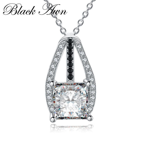 Vintage 925 Sterling silver jewelry trendy silver necklace engagement necklaces for Women wedding pendants P045