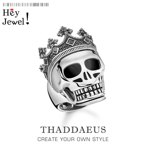 925 Sterling silver skull crown Cocktail ring, TS Vintage Power gift for men, Thomas strength sign 2020 Summer fine jewelry