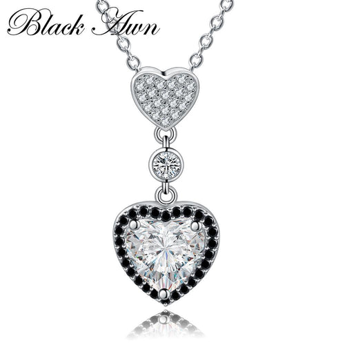 Heart necklaces pendants 925 Sterling silver fine jewelry fashionable engagement necklaces for Women wedding pendants P156