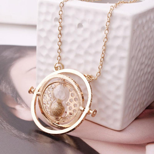 New fashion Time Turner Harry pendant necklace hourglass magic school Badge Vintage jewelry necklace for women men gifts