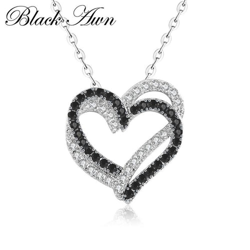 Necklace woman 2019 silver real end 100% 925 Sterling silver necklace women jewelry black and white heart stone pendants P107