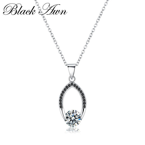Black Awn necklace in argent100 % genuine 925 Sterling silver 100% Jewelry necklace for women jewelry woman necklaces and pendants P086