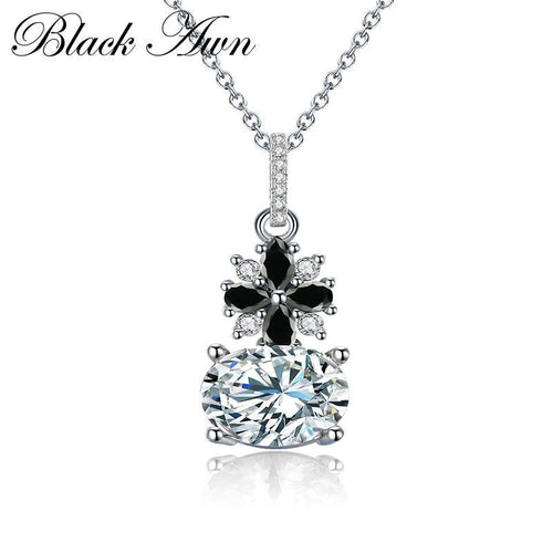 Cute Sterling silver necklace 925 fine jewelry fashionable engagement Punk necklaces for Women wedding pendants P115