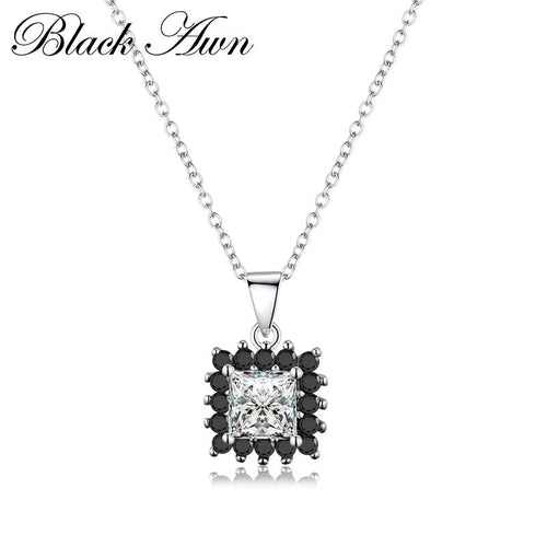 Cute 925 Sterling silver 7.5 gram Square row black stone necklaces pendants for women fine jewelry silver necklace P169