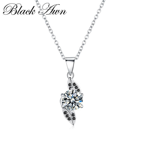 Vintage leaf row black and white stone necklaces pendants for women genuine 100% 925 Sterling silver jewelry P141