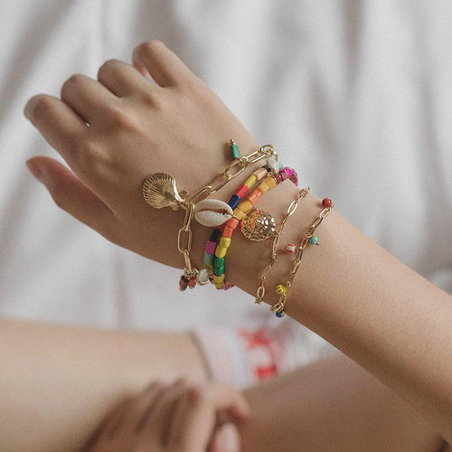 SRCOI bohemian colorful beaded shell charm bracelets women ethnic Boho multilayer natural shell Cowrie friendship Bracelet Beach