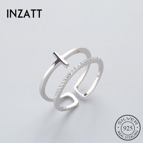 Inzatt Fashion Cross zirconium RING 925 silver pound ring women's color or rose Fashion Jewelry Festival