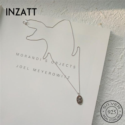 Inzatt Vintage oval Angel Baby Pendant Necklace 925 Silver Sterling Jewelry fine 45cm or 65cm pearl chain women's wear Festival