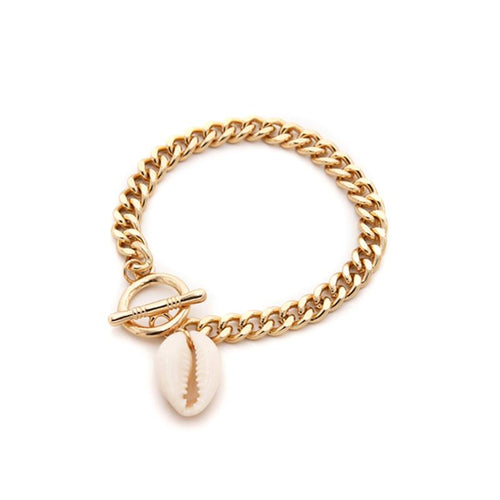 SRCOI handmade bohemian Style seashell women Bracelet & Bracelet gold color link chain seashell charm Bracelets fashion woman party 20CM