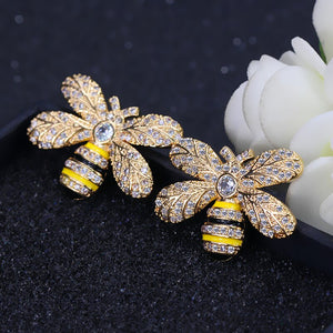 ANGELCZ 2019 printemps Design bijoux zircon cubique couleur or jaune mignon abeille boucles