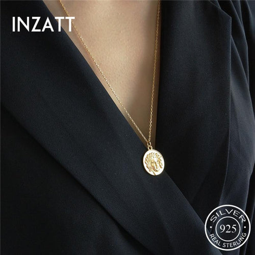 Inzatt trust 925 Sterling Vintage Rond avatar pendant collier New Gothic mode jewelry accessories