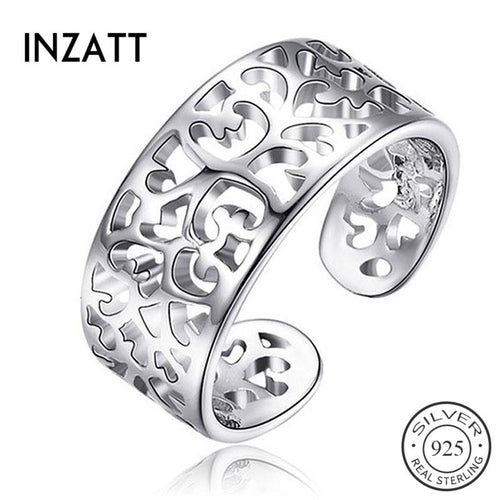 Inzatt national hollow sculpture wreath real 925 pounds, for women's birthday gift, fashionable female ring