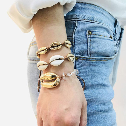 SRCOI gold color wholesale Cowrie Shell Bracelets delicate rope chain adjustable Bracelet beads charm Bracelet bohemian beach jewelry