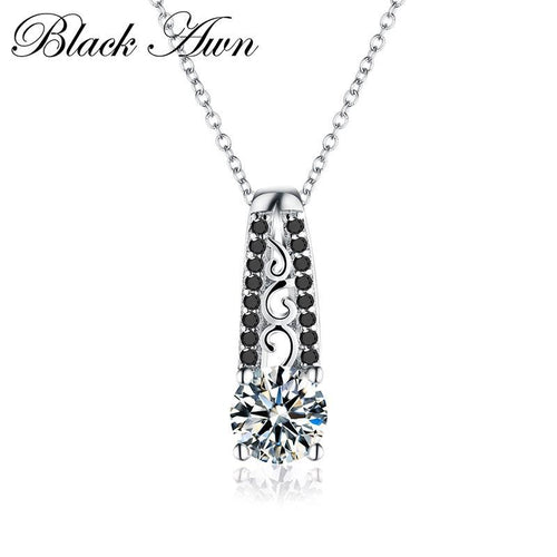 Vintage silver necklace 925 Sterling silver jewelry fashionable engagement necklaces for Women wedding pendants P061