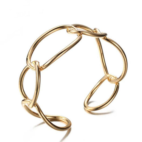 SRCOI minimalist wind Oval geometric link modeling Bracelet hollow exaggerated opening Bracelet for women Girl Party