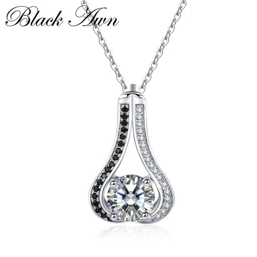 Vintage 5.3g 925 Sterling silver jewelry fashionable engagement necklaces for Women wedding necklaces pendants P048