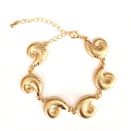SRCOI delicate gold color metal Cowrie Shell handmade charm Bracelet bohemian holiday jewelry sea snail Bracelet for women girls
