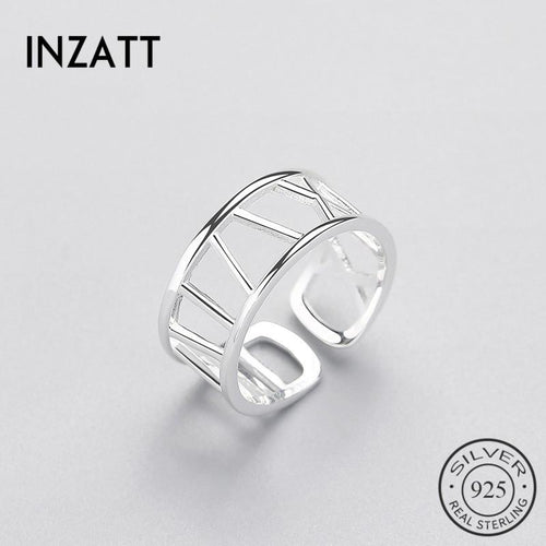 Inzatt geometric line ol women's ring real Festival 925 silver pounds minimum hollow fashion jewelry gift fashion jewelry