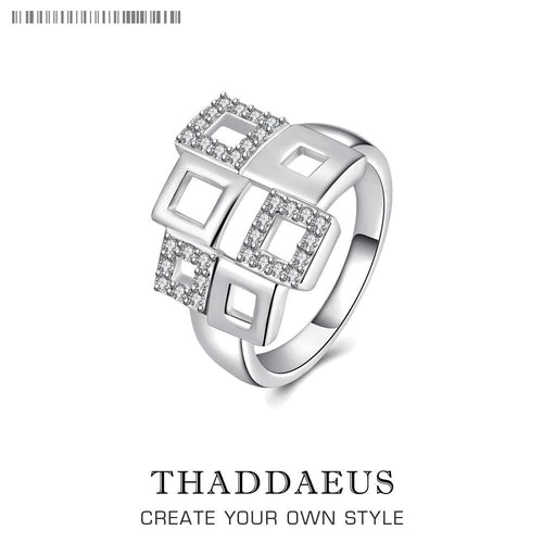 Square ring, Thomas Glam Style fashion good jewelry for men and women,  Ts 925 Sterling silver Vintage gift, Super deals