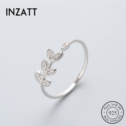 Inzatt classic olive leaf AAA zirconium ring high quality 925 silver pound color or rose jewelry gift for women