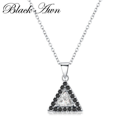 Simple Triangle 2.5 gram 925 Sterling silver fashionable black and white stone necklaces pendants for women fine jewelry P171