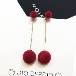 Kroean Chic longues boucles d'oreilles goutte Simple 4 couleur velours Hairball Dangle or chaîne