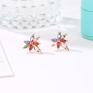 MOONROCY CZ boucles d'oreilles colorées Stud cristal bohême Rose or couleur papillon cubique zircone