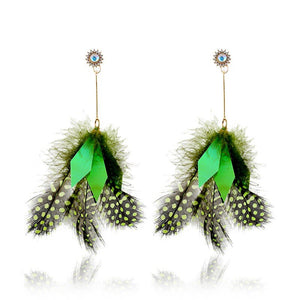 Naturel Vintage Long fait à la main plume boucles d'oreilles paillettes Dangle boucles d'oreilles