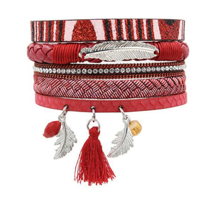 STRATHSPEY strass plume large multicouche Bracelet en cuir magnétique gland feuille armure foulard