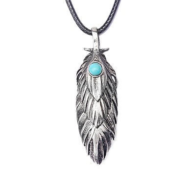 collier plume homme