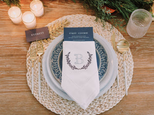 Laurel Leaf Embroidered Dinner Napkins