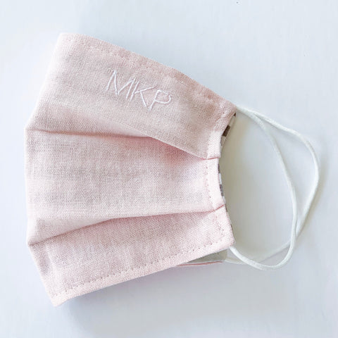 Blush Pink Monogrammed  Face Mask