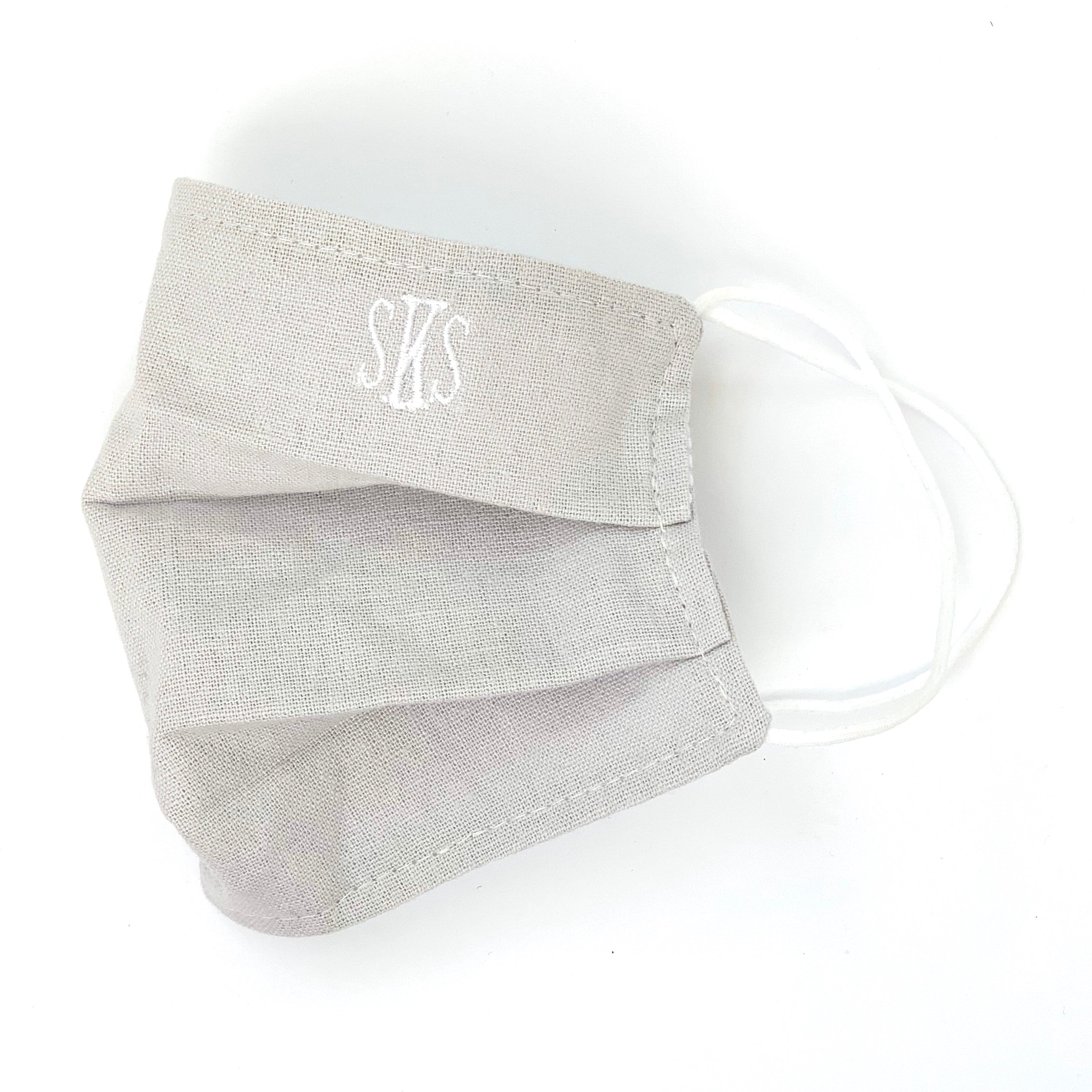 Dove Gray Monogrammed Mask
