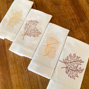 Fall Foliage, Set of 4 Embroidered Napkins