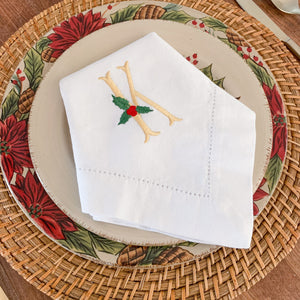 Holly Leaf Embroidered Dinner Napkins