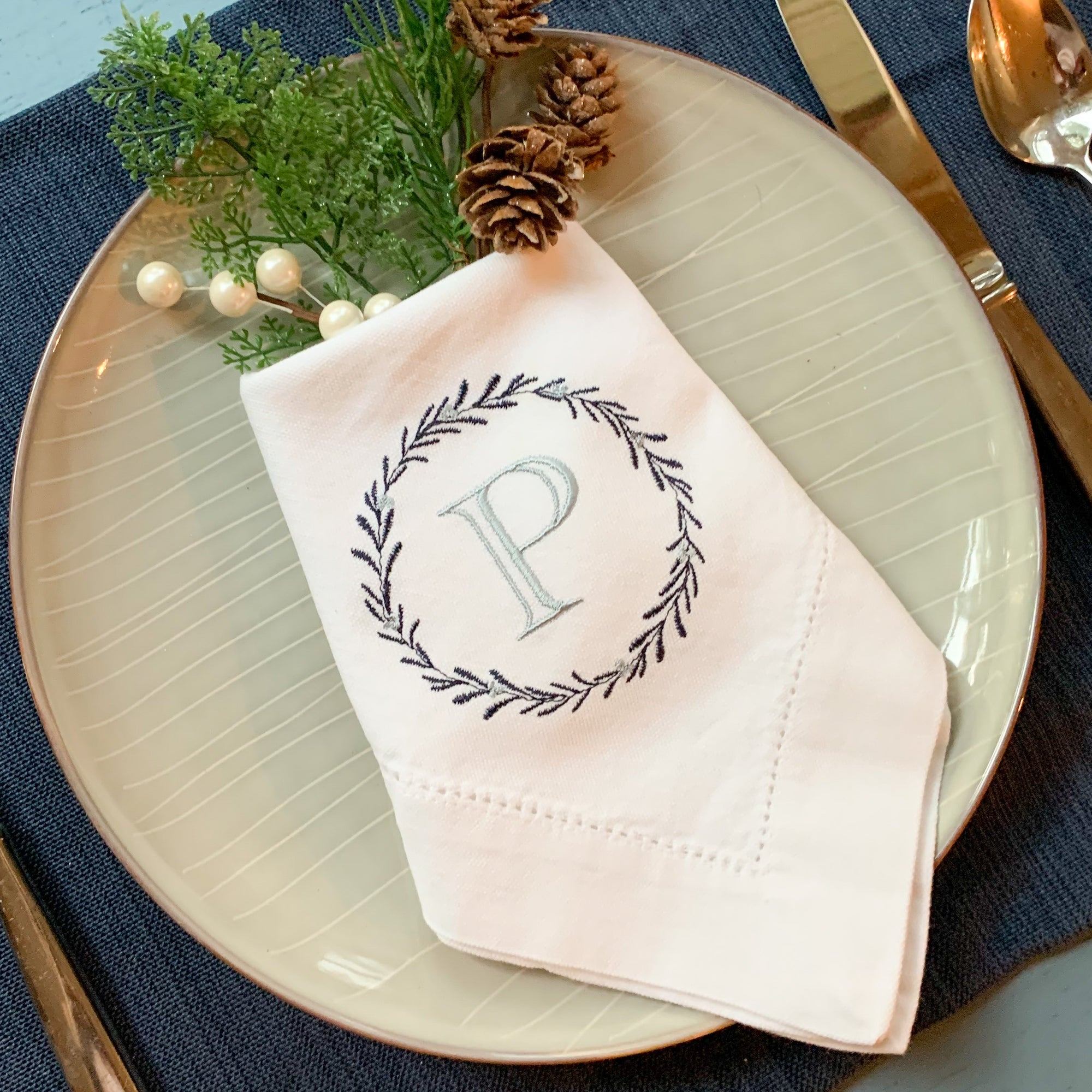 Holly Wreath Embroidered Dinner Napkins