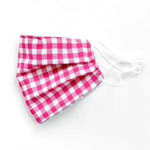 Pink Gingham Embroidered Mask, youth & adult sizes